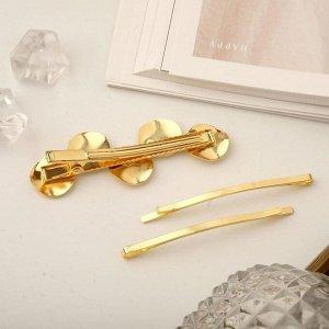 """Невидимка для волос """"Либерти"""" (набор 3 шт) кружочки литые, 6 и 6,7 см, золото"""