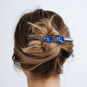"""Зажим для волос """"Дениз"""" 12,5 см синие цветы"""