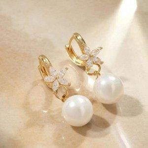 """Серьги с жемчугом """"Грейс"""" шар и цветочек, цвет белый в золоте"""