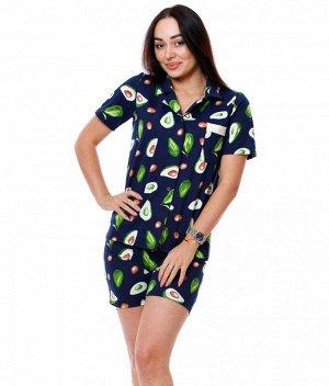 Пижама Б32 (авокадо на темно-синем)