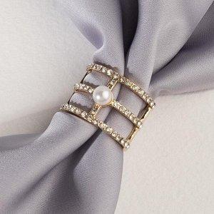 """Муфта для платка """"Трио"""", цвет белый в золоте"""