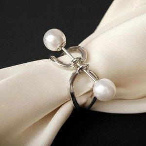 """Муфта для платка """"Хомут"""", цвет белый в серебре"""