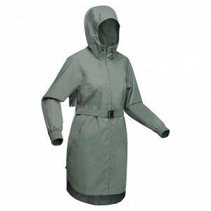 Куртка водонепроницаемая длинная для походов на природе женская Raincut Long QUECHUA