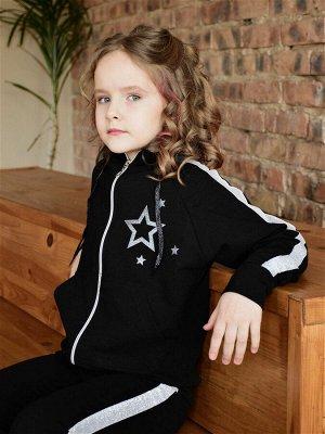 Спортивный костюм К043, черный-серебро