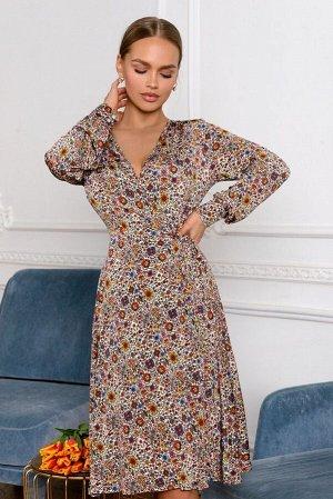 Платье Размер: 42 Красота природы на вашем любимом платье! Мильфлёр - множество небольших пестрых цветочков в узоре материала в сочетании с женственным, глубоким V-образным вырезом не оставят вас неза