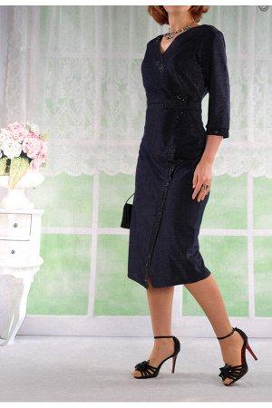 Платье МОДЕЛЬ МАЛОМЕРИТ. ЦВЕТ ПЛАТЬЯ:ТЕМНО-СИНИЙ. Платье с декоративным запахом.Отделка планок и манжетов стразами.Ткань-люрекс.В боковом шве потайная молния. На фото платье 48-го размера. размер 48 о