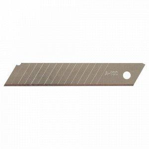 """Лезвия для ножей 18 мм КОМПЛЕКТ 10 ШТ., толщина лезвия 0,38 мм, в пластиковом пенале, STAFF """"Basic"""", 235466"""