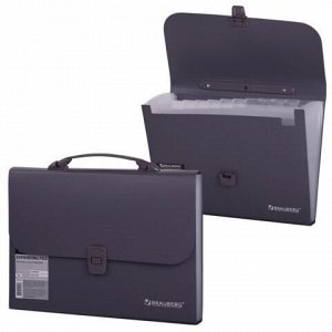 Папка-портфель пластиковая BRAUBERG А4 (327х254х30 мм), 13 отделений, серая, 221438