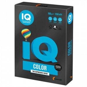 Бумага цветная IQ color, А4, 160 г/м2, 250 л., интенсив, черная, В100, B100