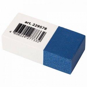 """Ластик BRAUBERG """"PENCIL & INK"""", 39х18х12 мм, для ручки и карандаша, бело-синий, 229578"""