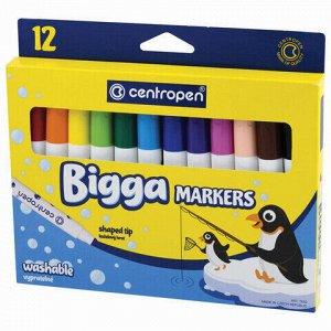 """Фломастеры утолщенные 12 ЦВЕТОВ CENTROPEN """"Bigga Markers"""", смываемые, вентилируемый колпачок, 7650/8KK, 7 7650 1201"""