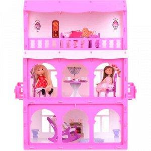 """Домик для кукол """"Дом Бриджит"""" бело-розовый (с мебелью) KRASATOYS 000286"""