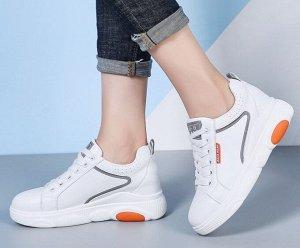 Кроссовки женские, оранжевые вставки, цвет белый
