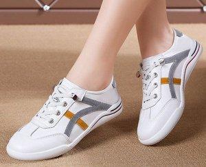 Кроссовки женские, серые/желтые полосы, цвет белый