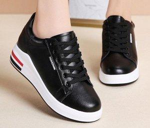 Женские кроссовки, цвет черный, черные и красные полосы на подошве