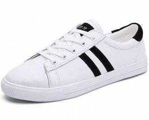 Женские кроссовки, цвет белый, черные полосы