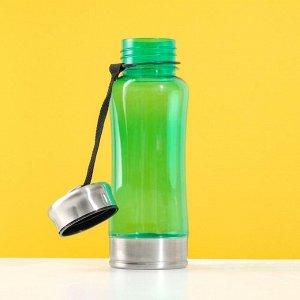 Бутылка для воды с ручкой из текстиля, 600 мл, микс, 7х23 см