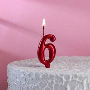 """Свеча для торта, цифра """"6"""", рубиновый"""
