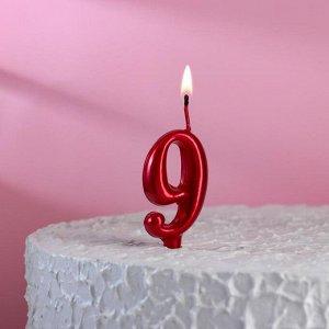 """Свеча для торта, цифра """"9"""", рубиновый"""