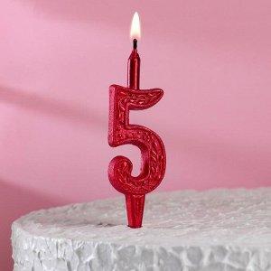 """Свеча для торта, цифра """"5"""", рубиновый узор"""