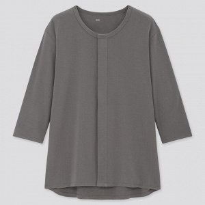 Хлопковая кофта с круглым вырезом ,рукав 3/4 ,темно-серый