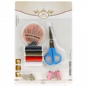 Набор для шитья 10 предметов: цветные нитки - 4 штуки; ножницы; иголки; нитковдеватель; булавки; зажим - 2 штуки, в блистере (Китай)