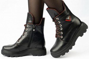 Ботинки Ботинки.  Материал верха натуральная кожа.  Подошва ТЭП.  Материал подклада байка, шерстяной вязаный мех Вид застежки молния и шнурки.