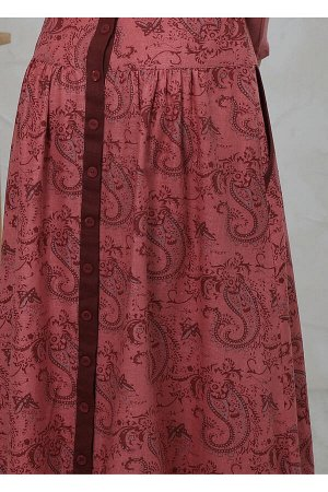 Юбка бордо ОПИСАНИЕ Длинная юбка с 2-мя боковыми карманами из полульняной ткани. Благодаря кокетке, изделие довольно плотно садится на фигуре, без дополнительного объема на животе. Свобода по линии бе