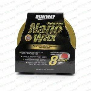 Защитное покрытие-полироль кузова Runway Professional Nano Wax, с воском карнауба, с водоотталкивающим эффектом, банка 300мл, (+губка), арт. RW6134