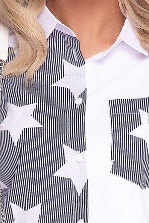 Рубашка Комбинированная рубашка из текстильного полотна свободного силуэта.Центральная застежка на петли и пуговицы до низа.Воротник рубашечного типа на стойке.По спинке кокетка.Рукав втачной на пате