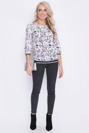 Блузка НЕТ в наличии!  Блузка из текстильного полотна.Манжеты по рукавам и низ блузы-подвязы. 30% вискоза 65% п/э,5% эластан
