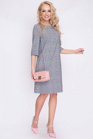 Платье Платье трапецевидного силуэта из костюмной ткани в клетку. 50% вискоза,45% п/э,5% лайкра