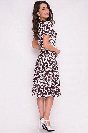 Платье Платье из трикотажного полотна отрезное по линии талии с расклешенной юбкой.Пояс из основной ткани в комплекте. 30% вискоза 65% п/э,5% эластан