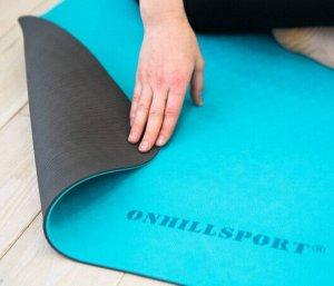 Коврик для йоги TPE  183*61*06 см 2-х слойный бирюзово-серый