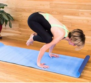 Коврик для йоги TPE  183*61*06 см 2-х слойный сине-голубой