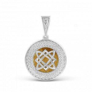 Подвеска из серебра с нат.жёлтым амонитом родированная - Звезда Лады 4102018р Звезда Лады