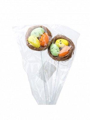 Гнездо с яйцами на вставке 2 шт пенопласт цвет в ассортименте