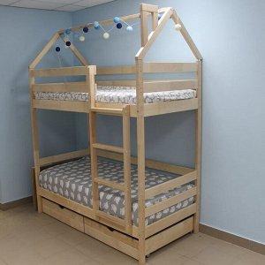 Кровать Домик Двухъярусный 180*90 натуральный  П