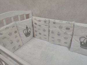 Бортик в кроватку Baby king серый