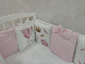 Бортик в кроватку Фламинго