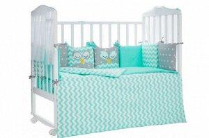 КПБ 3 предм. комплект постельного белья в кроватку Спящие совята 120*60 зел.