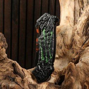 Нож складной полуавтоматический, рукоять с зелеными вставками, 20см, клинок 8,5см