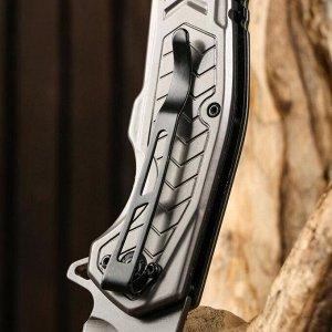 Нож складной полуавтоматический, накладка из дерева на рукояти, 22см, клинок 9,3см