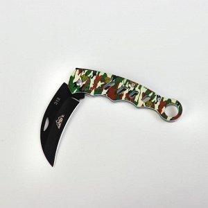 Нож складной, ручка металл, цвет камуфляжный, 11см, без фиксатора, 18*3,5см, микс