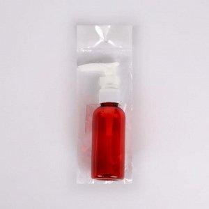 Бутылочка для хранения, с дозатором, 60 мл, цвет красный/белый