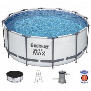 Бассейн каркасный Steel Pro MAX, 366 х 122 см, фильтр-насос, лестница, тент, 56420 Bestway