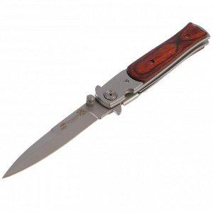 Складной нож Stinger с клипом, 100 мм, рукоять: сталь, дерево, коробка картон