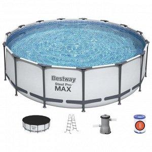 Бассейн каркасный Steel Pro MAX, 457 х 122 см, фильтр-насос, лестница, тент, 56438 Bestway