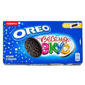 Печенье печенье Орео ВЕСЕЛЬЯ ВКУС 176 г Печенье Oreo с какао, начинкой со вкусом карамели и цветной кондитерской посыпкой. Oreo – это печенье сэндвич, состоящий из двух шоколадных дисков с прослойкой