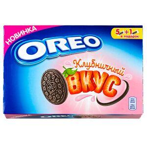 Печенье печенье Орео Клубничный вкус 228 г  Oreo – это печенье сэндвич, состоящий из двух шоколадных дисков с прослойкой розового крема между ними. Впервые оно было разработано в 1912 году компанией N